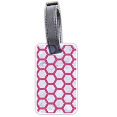 HEXAGON2 WHITE MARBLE & PINK DENIM (R) Luggage Tags (Two Sides)