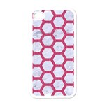 HEXAGON2 WHITE MARBLE & PINK DENIM (R) Apple iPhone 4 Case (White) Front