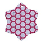 HEXAGON2 WHITE MARBLE & PINK DENIM (R) Ornament (Snowflake) Front