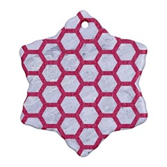 HEXAGON2 WHITE MARBLE & PINK DENIM (R) Snowflake Ornament (Two Sides)