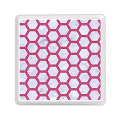 HEXAGON2 WHITE MARBLE & PINK DENIM (R) Memory Card Reader (Square)