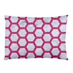 HEXAGON2 WHITE MARBLE & PINK DENIM (R) Pillow Case (Two Sides)