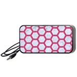 HEXAGON2 WHITE MARBLE & PINK DENIM (R) Portable Speaker Front