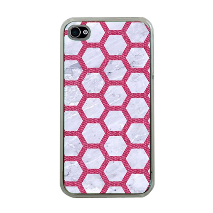 HEXAGON2 WHITE MARBLE & PINK DENIM (R) Apple iPhone 4 Case (Clear)