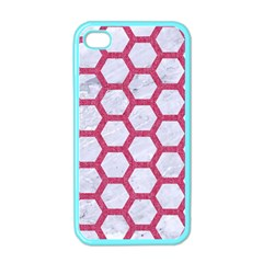 HEXAGON2 WHITE MARBLE & PINK DENIM (R) Apple iPhone 4 Case (Color)