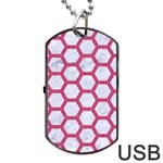 HEXAGON2 WHITE MARBLE & PINK DENIM (R) Dog Tag USB Flash (One Side) Front