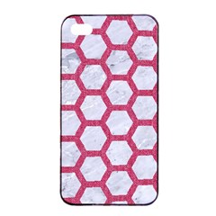 HEXAGON2 WHITE MARBLE & PINK DENIM (R) Apple iPhone 4/4s Seamless Case (Black)