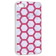 HEXAGON2 WHITE MARBLE & PINK DENIM (R) Apple iPhone 4/4s Seamless Case (White)