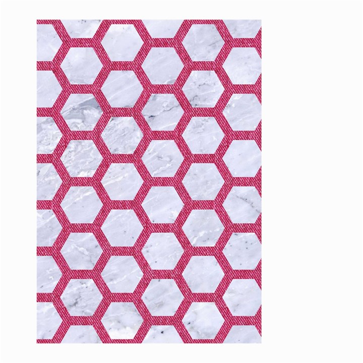 HEXAGON2 WHITE MARBLE & PINK DENIM (R) Small Garden Flag (Two Sides)