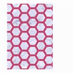 HEXAGON2 WHITE MARBLE & PINK DENIM (R) Small Garden Flag (Two Sides) Back