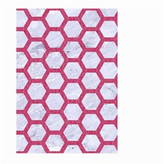 HEXAGON2 WHITE MARBLE & PINK DENIM (R) Large Garden Flag (Two Sides)