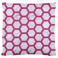 HEXAGON2 WHITE MARBLE & PINK DENIM (R) Large Cushion Case (One Side)