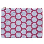 HEXAGON2 WHITE MARBLE & PINK DENIM (R) Cosmetic Bag (XXL)  Front