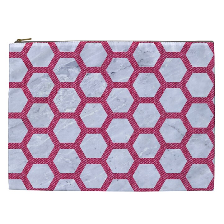 HEXAGON2 WHITE MARBLE & PINK DENIM (R) Cosmetic Bag (XXL)
