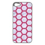 HEXAGON2 WHITE MARBLE & PINK DENIM (R) Apple iPhone 5 Case (Silver) Front