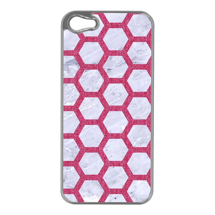 HEXAGON2 WHITE MARBLE & PINK DENIM (R) Apple iPhone 5 Case (Silver)