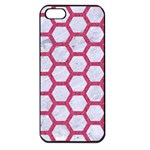 HEXAGON2 WHITE MARBLE & PINK DENIM (R) Apple iPhone 5 Seamless Case (Black) Front