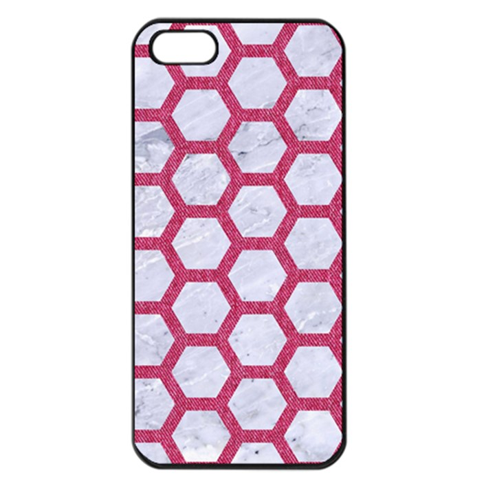 HEXAGON2 WHITE MARBLE & PINK DENIM (R) Apple iPhone 5 Seamless Case (Black)