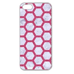HEXAGON2 WHITE MARBLE & PINK DENIM (R) Apple Seamless iPhone 5 Case (Clear)