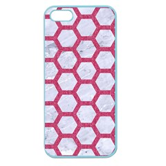 HEXAGON2 WHITE MARBLE & PINK DENIM (R) Apple Seamless iPhone 5 Case (Color)