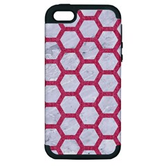 HEXAGON2 WHITE MARBLE & PINK DENIM (R) Apple iPhone 5 Hardshell Case (PC+Silicone)