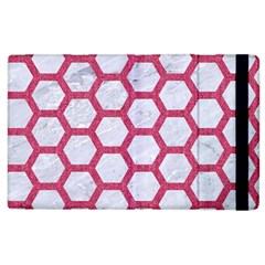 Hexagon2 White Marble & Pink Denim (r) Apple Ipad 2 Flip Case