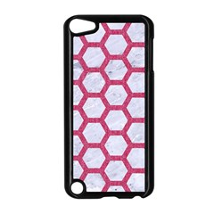 HEXAGON2 WHITE MARBLE & PINK DENIM (R) Apple iPod Touch 5 Case (Black)