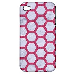 HEXAGON2 WHITE MARBLE & PINK DENIM (R) Apple iPhone 4/4S Hardshell Case (PC+Silicone)