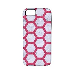 HEXAGON2 WHITE MARBLE & PINK DENIM (R) Apple iPhone 5 Classic Hardshell Case (PC+Silicone)