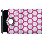 HEXAGON2 WHITE MARBLE & PINK DENIM (R) Apple iPad 2 Flip 360 Case Front