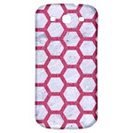 HEXAGON2 WHITE MARBLE & PINK DENIM (R) Samsung Galaxy S3 S III Classic Hardshell Back Case Front