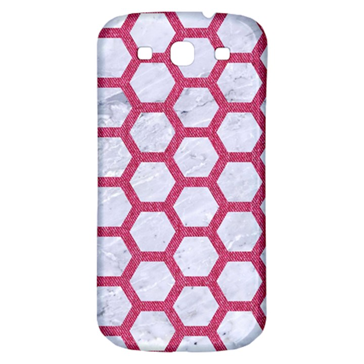 HEXAGON2 WHITE MARBLE & PINK DENIM (R) Samsung Galaxy S3 S III Classic Hardshell Back Case