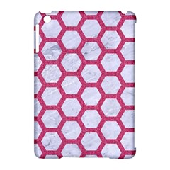 HEXAGON2 WHITE MARBLE & PINK DENIM (R) Apple iPad Mini Hardshell Case (Compatible with Smart Cover)