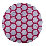 HEXAGON2 WHITE MARBLE & PINK DENIM (R) Large 18  Premium Round Cushions Front