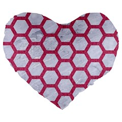 Hexagon2 White Marble & Pink Denim (r) Large 19  Premium Heart Shape Cushions
