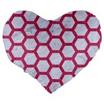 HEXAGON2 WHITE MARBLE & PINK DENIM (R) Large 19  Premium Heart Shape Cushions Back