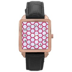 Hexagon2 White Marble & Pink Denim (r) Rose Gold Leather Watch