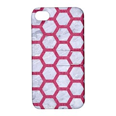 HEXAGON2 WHITE MARBLE & PINK DENIM (R) Apple iPhone 4/4S Hardshell Case with Stand