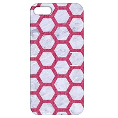 Hexagon2 White Marble & Pink Denim (r) Apple Iphone 5 Hardshell Case With Stand