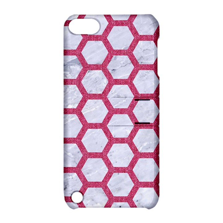 HEXAGON2 WHITE MARBLE & PINK DENIM (R) Apple iPod Touch 5 Hardshell Case with Stand