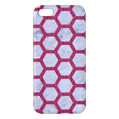 Hexagon2 White Marble & Pink Denim (r) Apple Iphone 5 Premium Hardshell Case