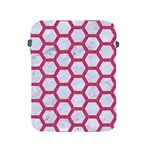 HEXAGON2 WHITE MARBLE & PINK DENIM (R) Apple iPad 2/3/4 Protective Soft Cases Front