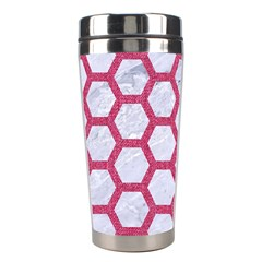 HEXAGON2 WHITE MARBLE & PINK DENIM (R) Stainless Steel Travel Tumblers