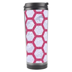 Hexagon2 White Marble & Pink Denim (r) Travel Tumbler by trendistuff