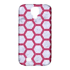 Hexagon2 White Marble & Pink Denim (r) Samsung Galaxy S4 Classic Hardshell Case (pc+silicone)