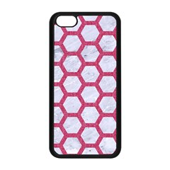 Hexagon2 White Marble & Pink Denim (r) Apple Iphone 5c Seamless Case (black)