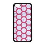 HEXAGON2 WHITE MARBLE & PINK DENIM (R) Apple iPhone 5C Seamless Case (Black) Front