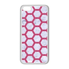 HEXAGON2 WHITE MARBLE & PINK DENIM (R) Apple iPhone 5C Seamless Case (White)