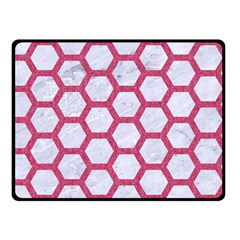 HEXAGON2 WHITE MARBLE & PINK DENIM (R) Double Sided Fleece Blanket (Small)