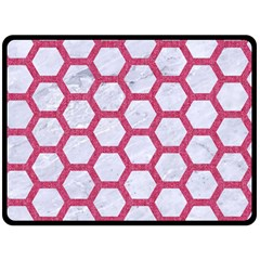 Hexagon2 White Marble & Pink Denim (r) Double Sided Fleece Blanket (large)